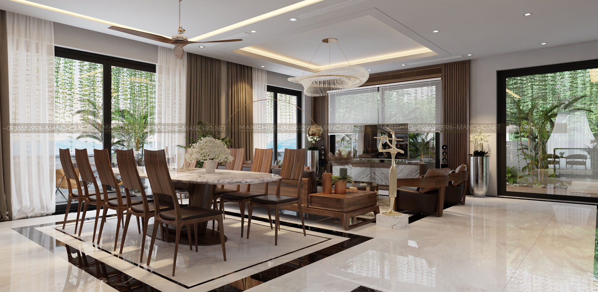 Thiết kế nội thất phòng khách biệt thự Monaco Hạ Long