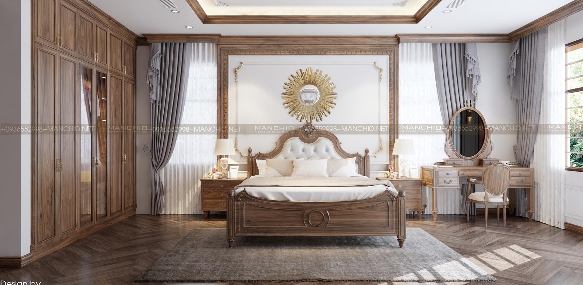 Thiết kế nội thất phòng ngủ Master biệt thự cao cấp