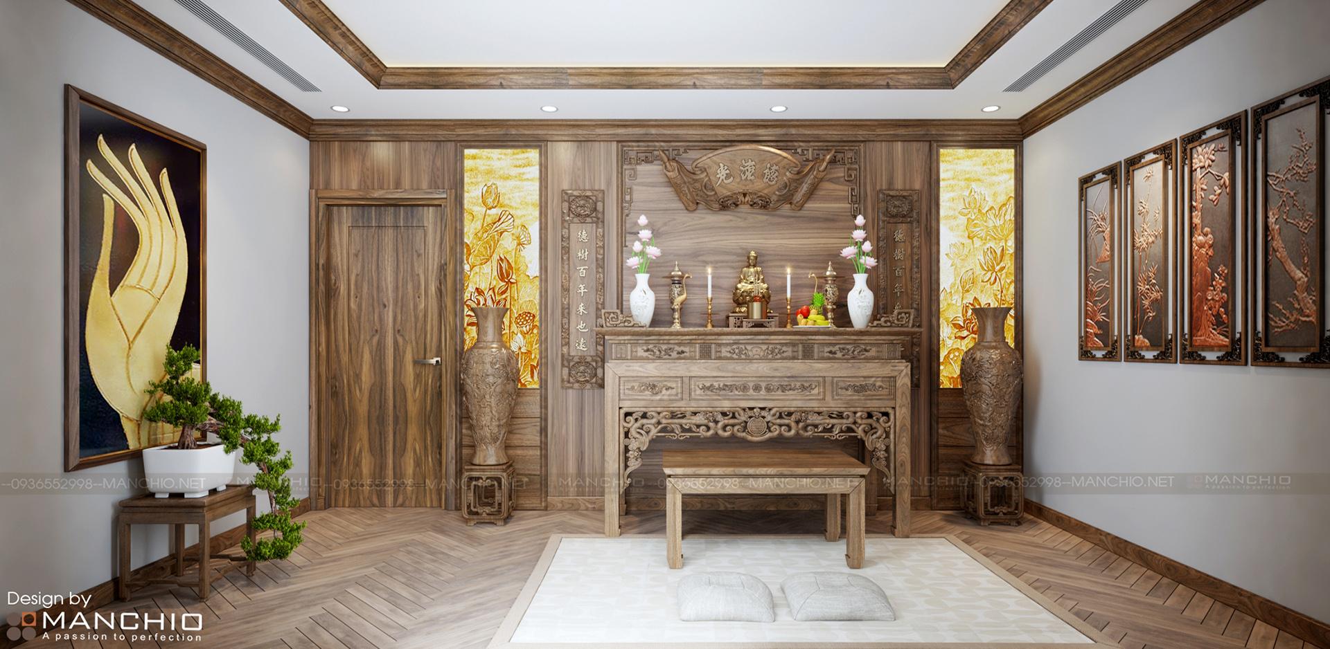 Thiết kế phòng thờ biệt thự cao cấp