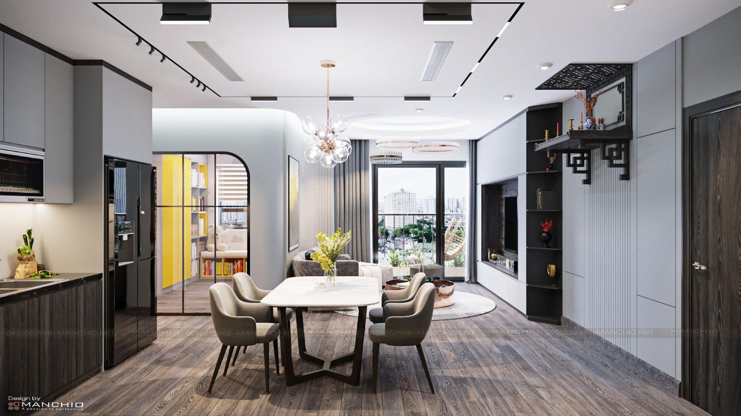 Thiết kế nội thất căn hộ cao cấp phong cách hiện đại